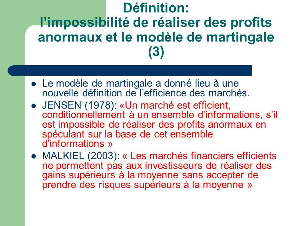 Définition: limpossibilité de réaliser des profits anormaux et le modèle de martingale (3) Le modèle de martingale a donné lieu à une nouvelle définit