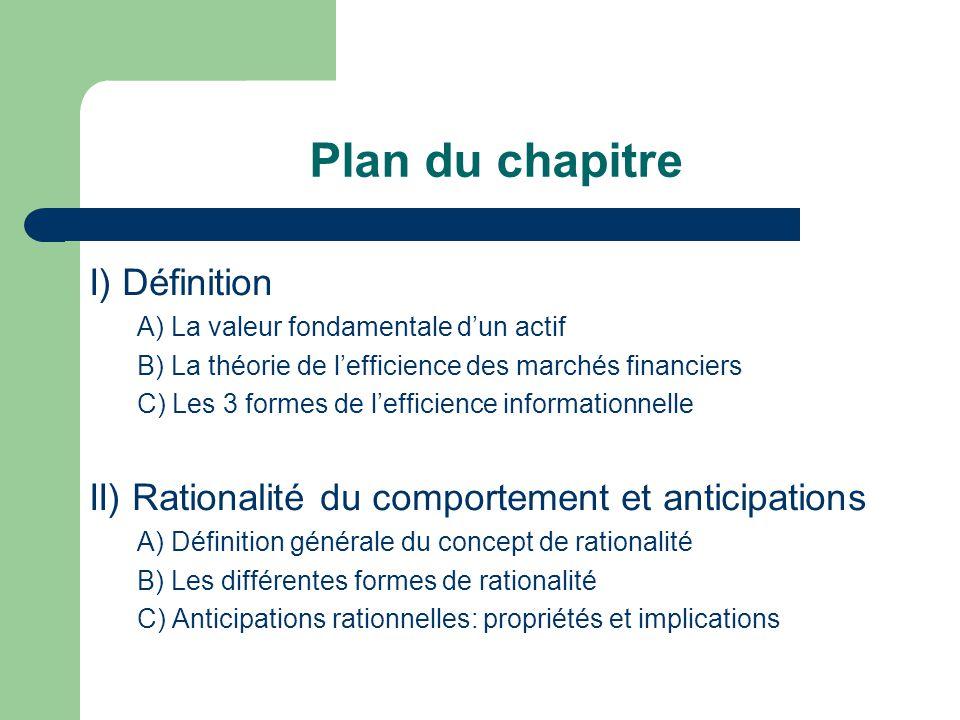 Plan du chapitre I) Définition A) La valeur fondamentale dun actif B) La théorie de lefficience des marchés financiers C) Les 3 formes de lefficience