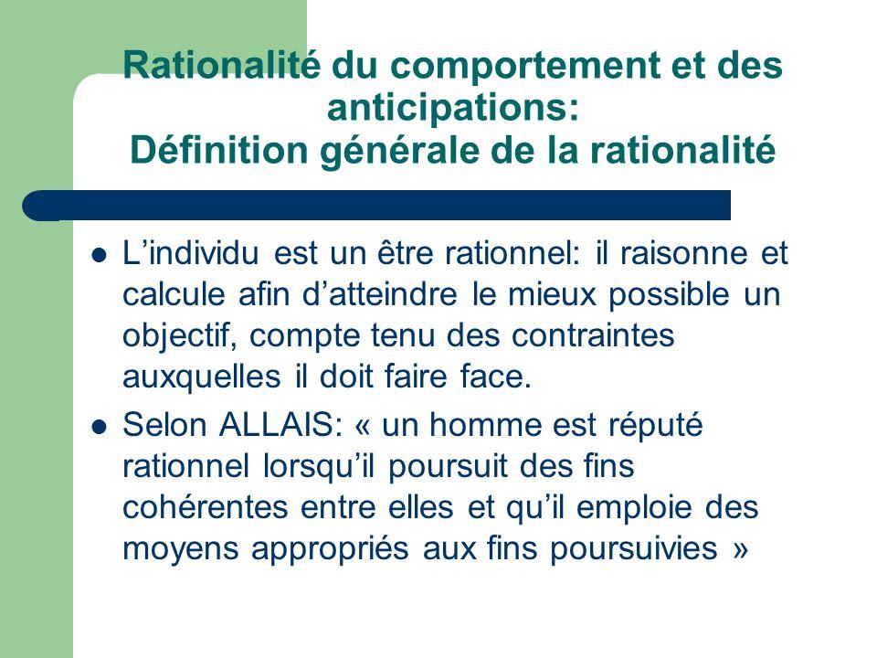 Rationalité du comportement et des anticipations: Définition générale de la rationalité Lindividu est un être rationnel: il raisonne et calcule afin d