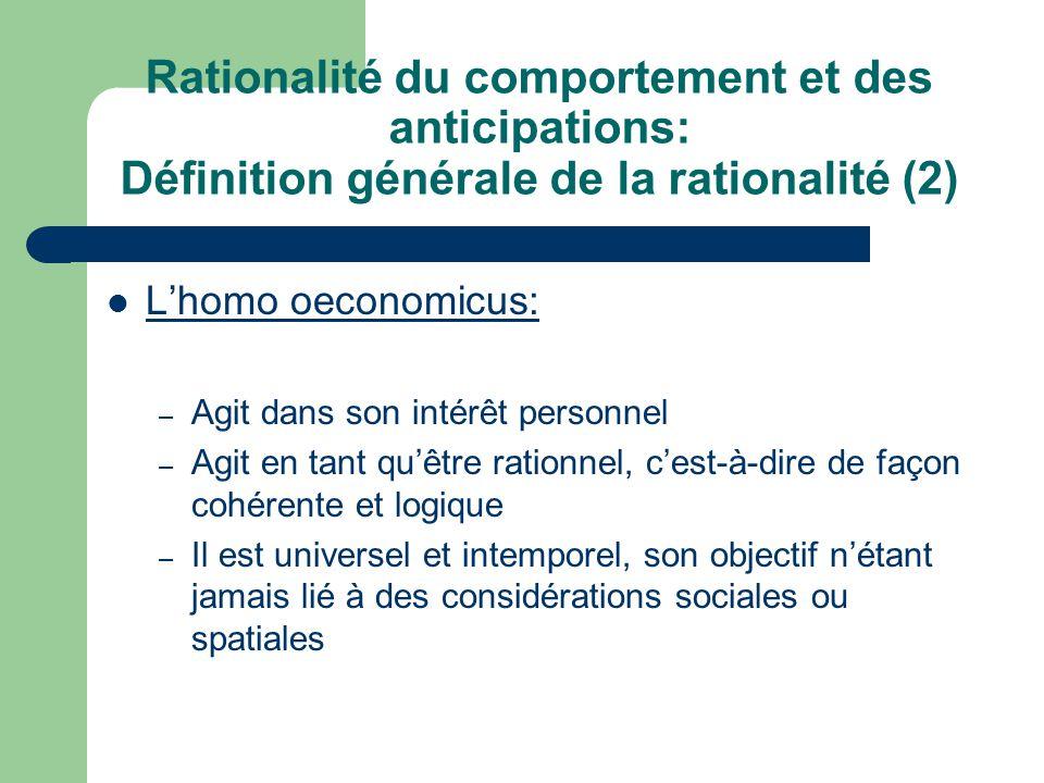 Rationalité du comportement et des anticipations: Définition générale de la rationalité (2) Lhomo oeconomicus: – Agit dans son intérêt personnel – Agi