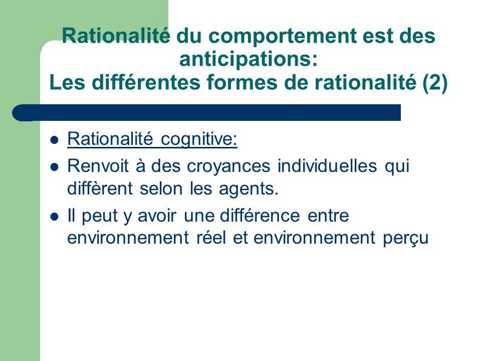 Rationalité du comportement est des anticipations: Les différentes formes de rationalité (2) Rationalité cognitive: Renvoit à des croyances individuel