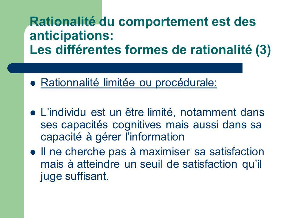 Rationalité du comportement est des anticipations: Les différentes formes de rationalité (3) Rationnalité limitée ou procédurale: Lindividu est un êtr