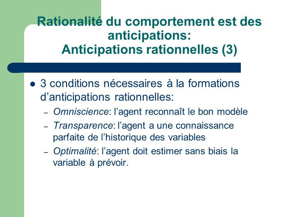 Rationalité du comportement est des anticipations: Anticipations rationnelles (3) 3 conditions nécessaires à la formations danticipations rationnelles
