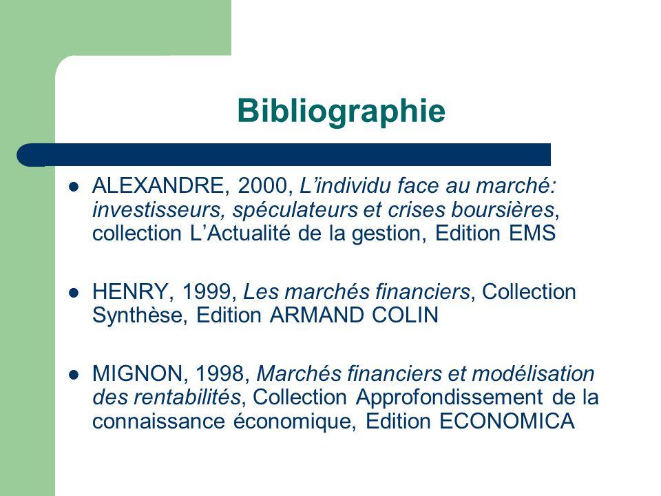 Bibliographie ALEXANDRE, 2000, Lindividu face au marché: investisseurs, spéculateurs et crises boursières, collection LActualité de la gestion, Editio