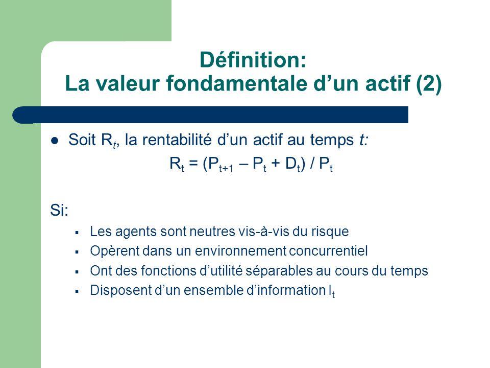 Définition: La valeur fondamentale dun actif (2) Soit R t, la rentabilité dun actif au temps t: R t = (P t+1 – P t + D t ) / P t Si: Les agents sont n
