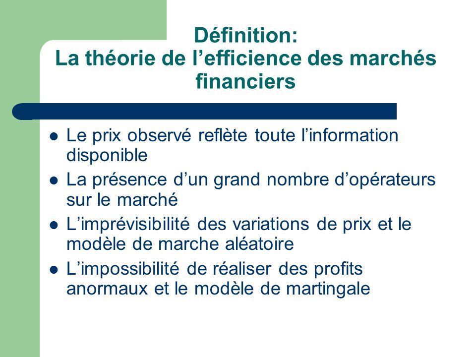 Définition: La théorie de lefficience des marchés financiers Le prix observé reflète toute linformation disponible La présence dun grand nombre dopéra