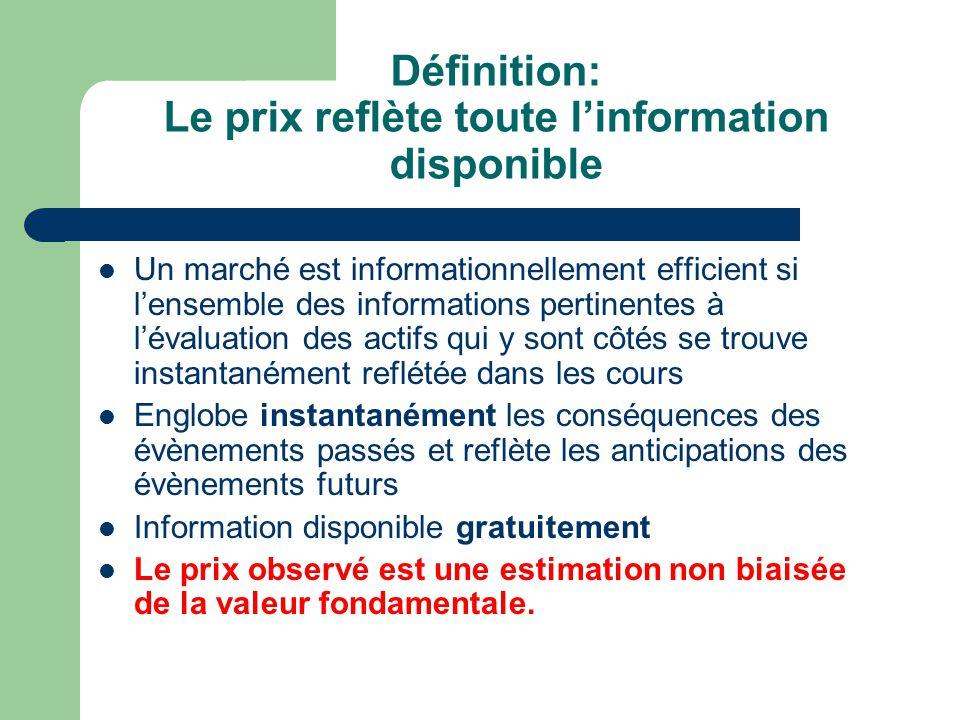 Définition: Le prix reflète toute linformation disponible Un marché est informationnellement efficient si lensemble des informations pertinentes à lév