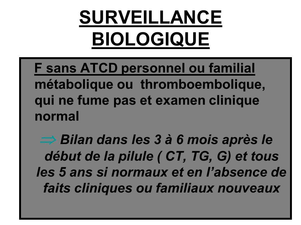 SURVEILLANCE BIOLOGIQUE F sans ATCD personnel ou familial métabolique ou thromboembolique, qui ne fume pas et examen clinique normal Bilan dans les 3