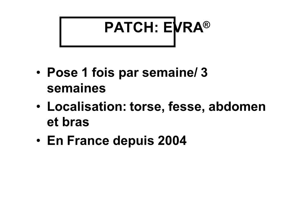 PATCH: EVRA ® Pose 1 fois par semaine/ 3 semaines Localisation: torse, fesse, abdomen et bras En France depuis 2004