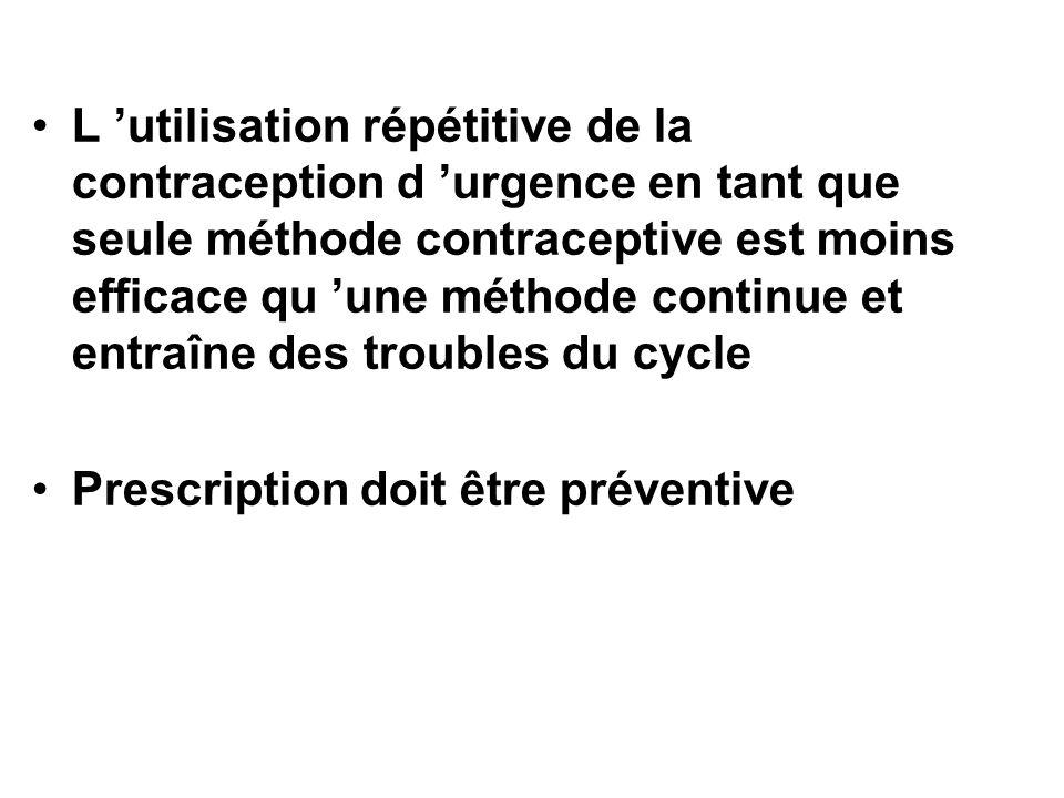 L utilisation répétitive de la contraception d urgence en tant que seule méthode contraceptive est moins efficace qu une méthode continue et entraîne