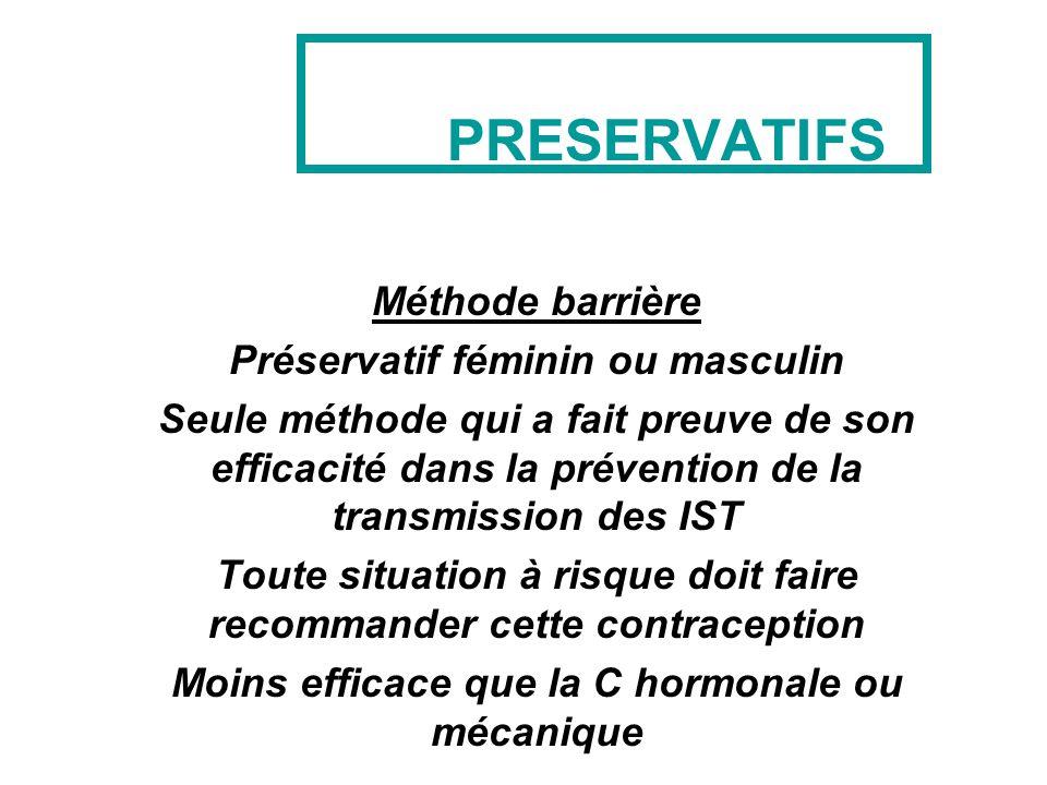 PRESERVATIFS Méthode barrière Préservatif féminin ou masculin Seule méthode qui a fait preuve de son efficacité dans la prévention de la transmission