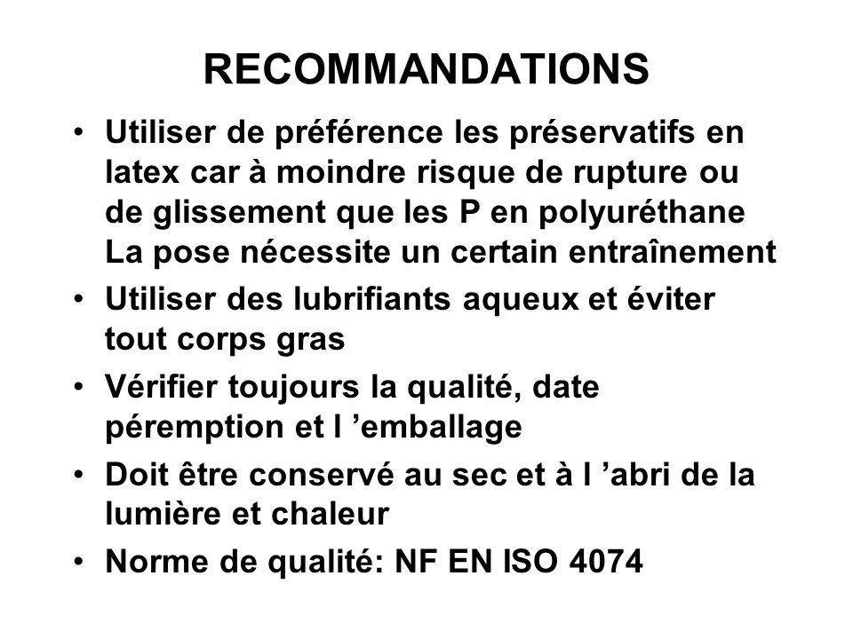 RECOMMANDATIONS Utiliser de préférence les préservatifs en latex car à moindre risque de rupture ou de glissement que les P en polyuréthane La pose né