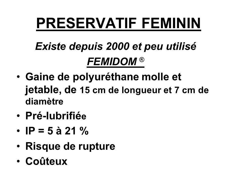 PRESERVATIF FEMININ Existe depuis 2000 et peu utilisé FEMIDOM ® Gaine de polyuréthane molle et jetable, de 15 cm de longueur et 7 cm de diamètre Pré-l