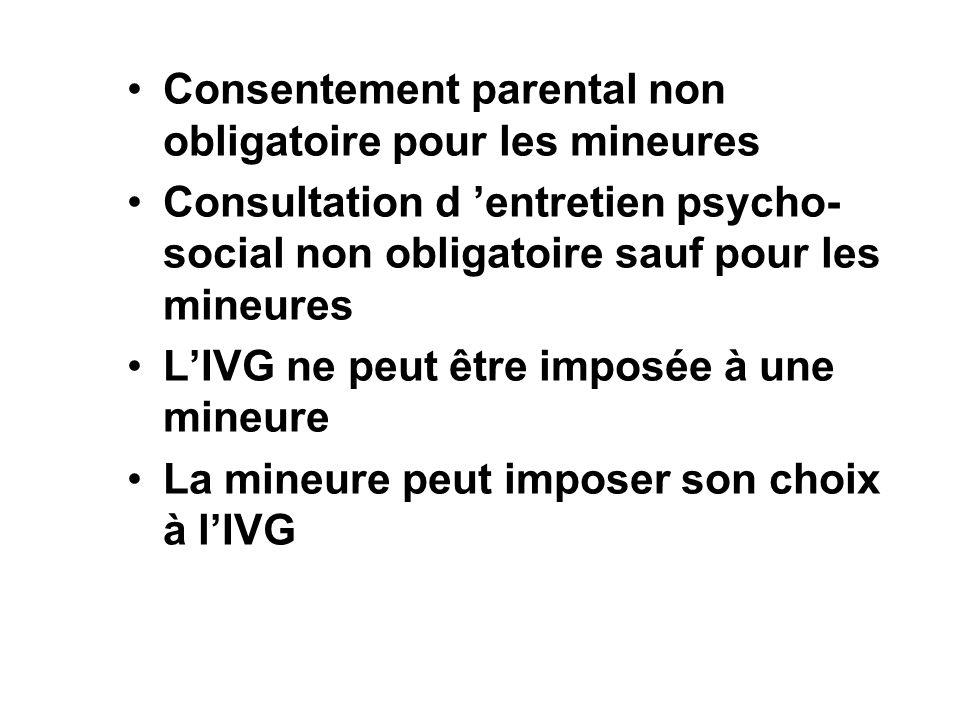 Consentement parental non obligatoire pour les mineures Consultation d entretien psycho- social non obligatoire sauf pour les mineures LIVG ne peut êt