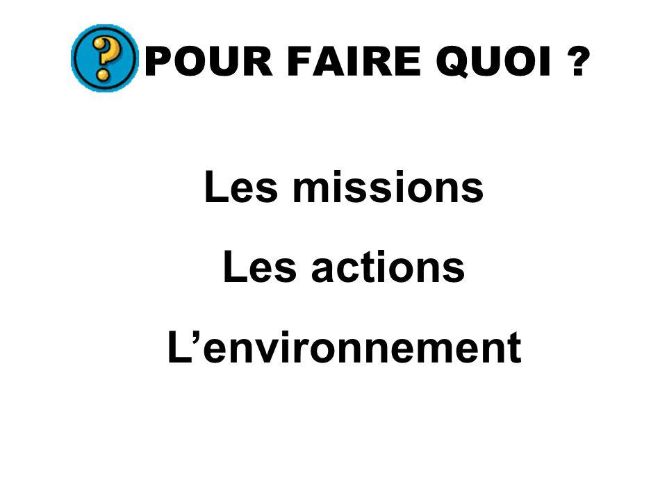 POUR FAIRE QUOI Les missions Les actions Lenvironnement