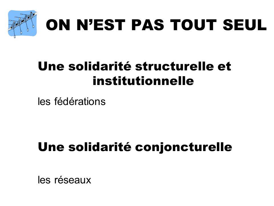 ON NEST PAS TOUT SEUL Une solidarité structurelle et institutionnelle les fédérations Une solidarité conjoncturelle les réseaux
