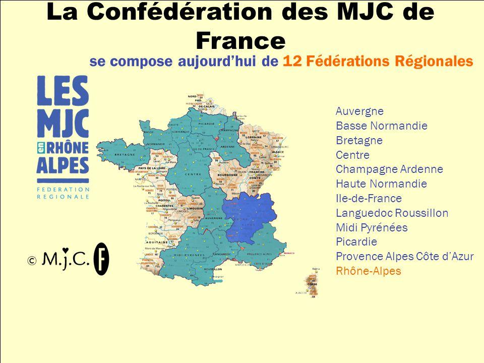 se compose aujourdhui de 12 Fédérations Régionales Auvergne Basse Normandie Bretagne Centre Champagne Ardenne Haute Normandie Ile-de-France Languedoc Roussillon Midi Pyrénées Picardie Provence Alpes Côte dAzur Rhône-Alpes La Confédération des MJC de France