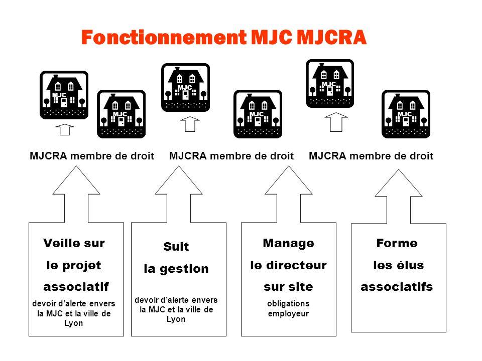 Fonctionnement MJC MJCRA MJC Suit la gestion devoir dalerte envers la MJC et la ville de Lyon Manage le directeur sur site obligations employeur Veill