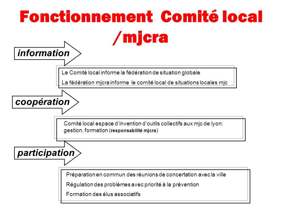 Fonctionnement Comité local /mjcra coopération Comité local espace dinvention doutils collectifs aux mjc de lyon: gestion, formation ( responsabilité
