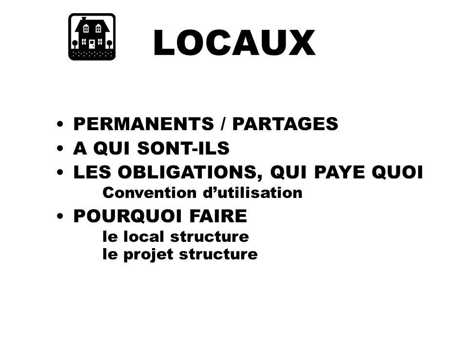 LOCAUX PERMANENTS / PARTAGES A QUI SONT-ILS LES OBLIGATIONS, QUI PAYE QUOI Convention dutilisation POURQUOI FAIRE le local structure le projet structure
