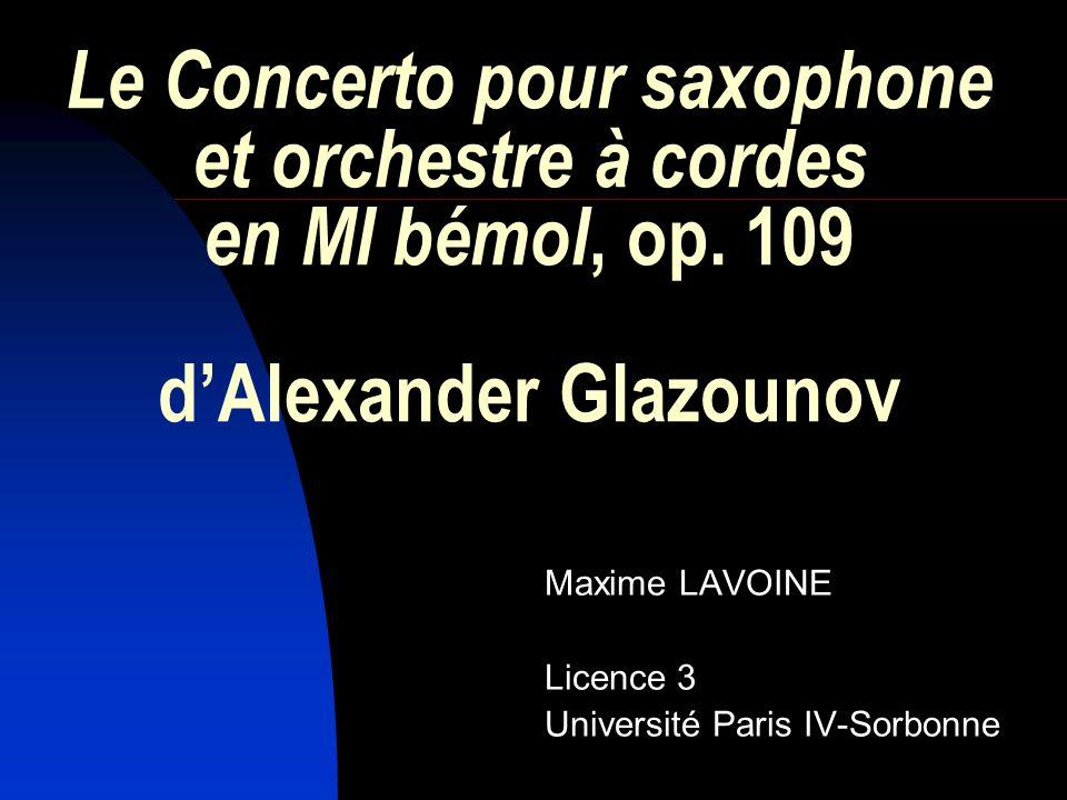 Le Concerto pour saxophone et orchestre à cordes en MI bémol, op.