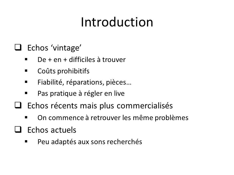 Introduction Echos vintage De + en + difficiles à trouver Coûts prohibitifs Fiabilité, réparations, pièces… Pas pratique à régler en live Echos récent