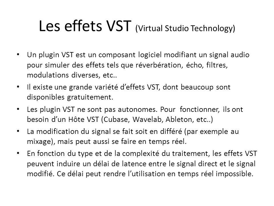 Les effets VST (Virtual Studio Technology) Un plugin VST est un composant logiciel modifiant un signal audio pour simuler des effets tels que réverbér