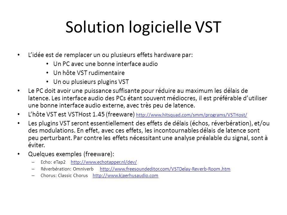 Solution logicielle VST Lidée est de remplacer un ou plusieurs effets hardware par: Un PC avec une bonne interface audio Un hôte VST rudimentaire Un o