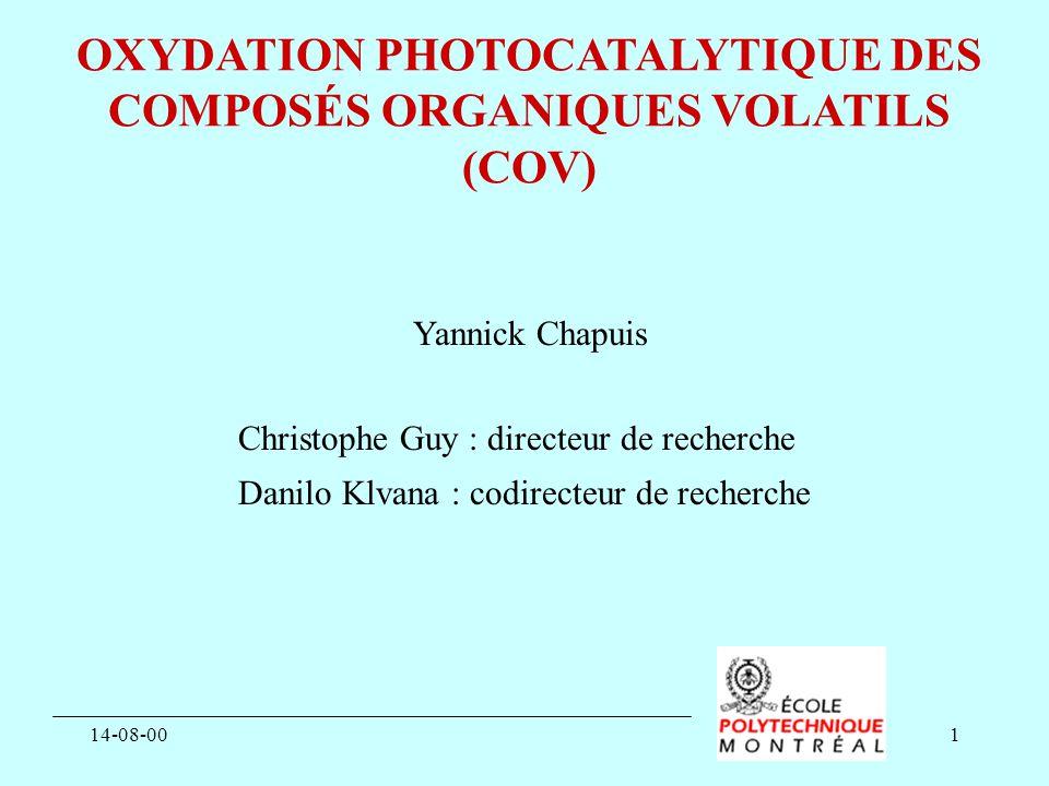 14-08-001 OXYDATION PHOTOCATALYTIQUE DES COMPOSÉS ORGANIQUES VOLATILS (COV) Yannick Chapuis Christophe Guy : directeur de recherche Danilo Klvana : co