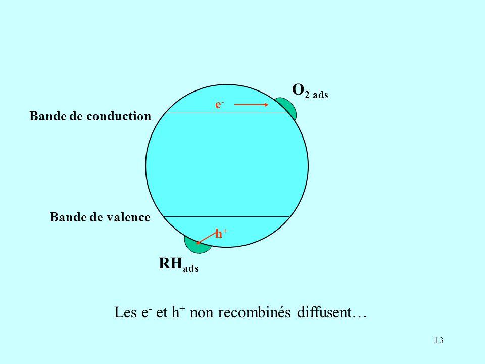 13 Bande de conduction Bande de valence O 2 ads RH ads e-e- h+h+ Les e - et h + non recombinés diffusent…