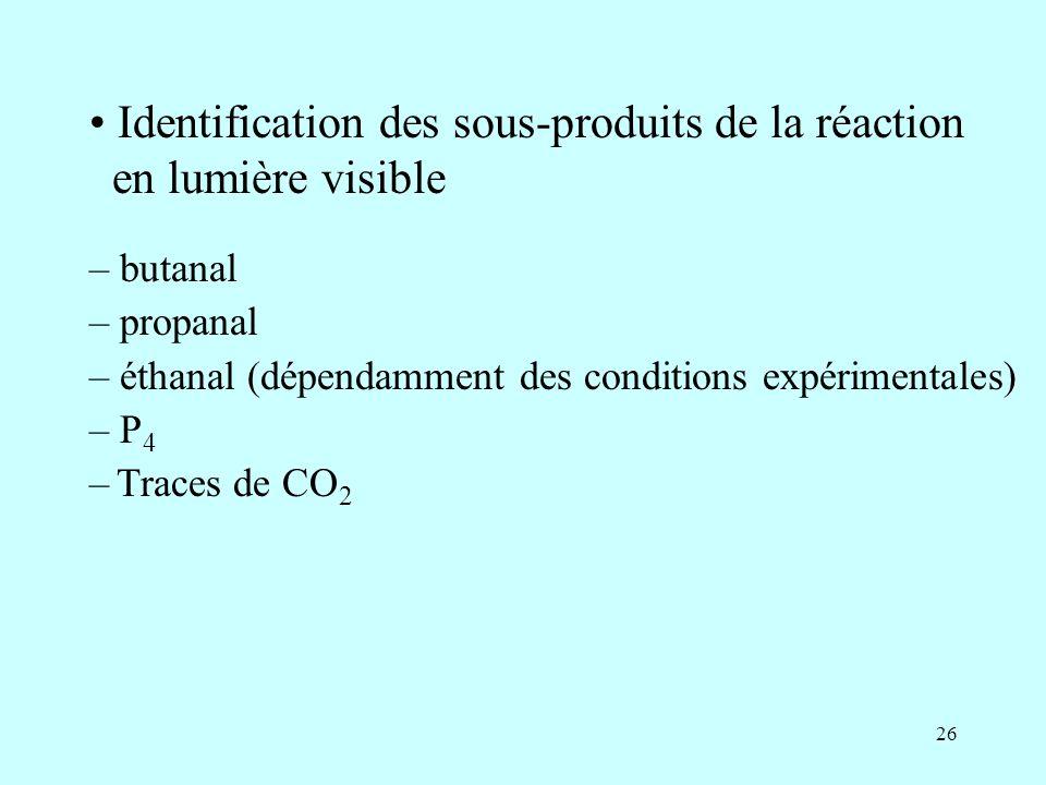 26 Identification des sous-produits de la réaction en lumière visible – butanal – propanal – éthanal (dépendamment des conditions expérimentales) – P