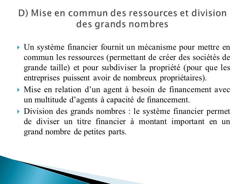Un système financier fournit un mécanisme pour mettre en commun les ressources (permettant de créer des sociétés de grande taille) et pour subdiviser
