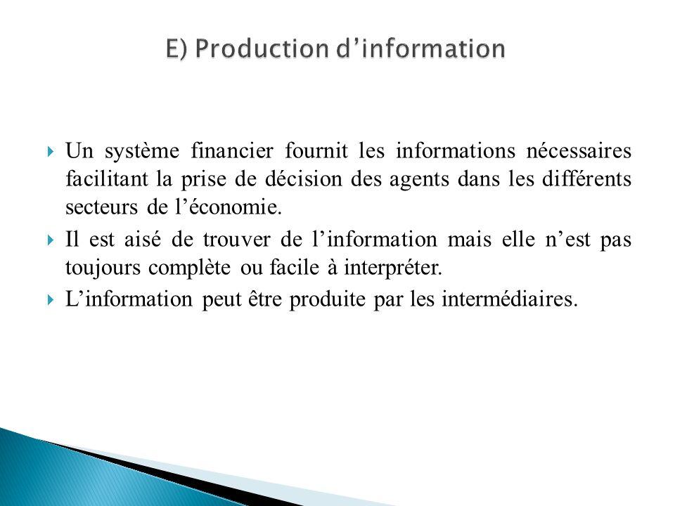 Un système financier fournit les informations nécessaires facilitant la prise de décision des agents dans les différents secteurs de léconomie. Il est