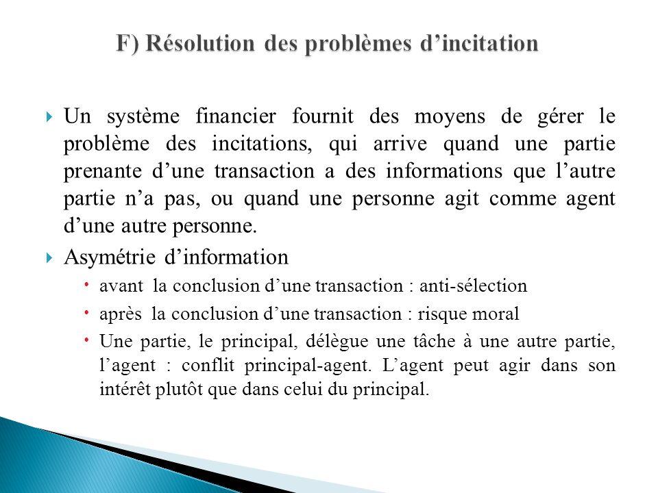 Un système financier fournit des moyens de gérer le problème des incitations, qui arrive quand une partie prenante dune transaction a des informations