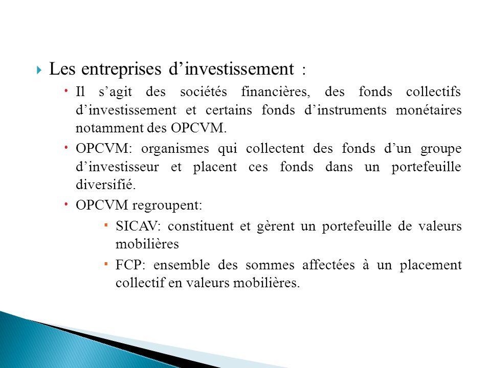 Les entreprises dinvestissement : Il sagit des sociétés financières, des fonds collectifs dinvestissement et certains fonds dinstruments monétaires no