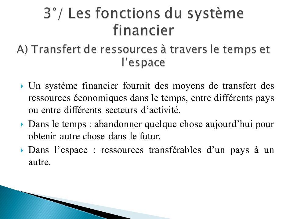 Un système financier fournit des moyens de transfert des ressources économiques dans le temps, entre différents pays ou entre différents secteurs dact