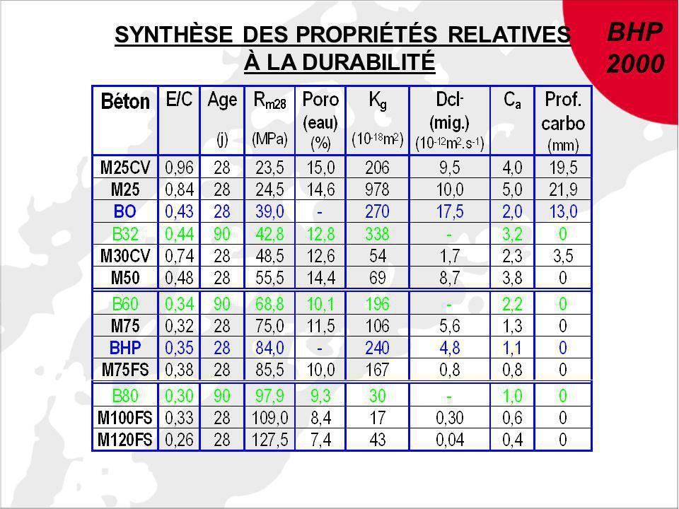 BHP 2000 BHP 2000 SYNTHÈSE DES PROPRIÉTÉS RELATIVES À LA DURABILITÉ