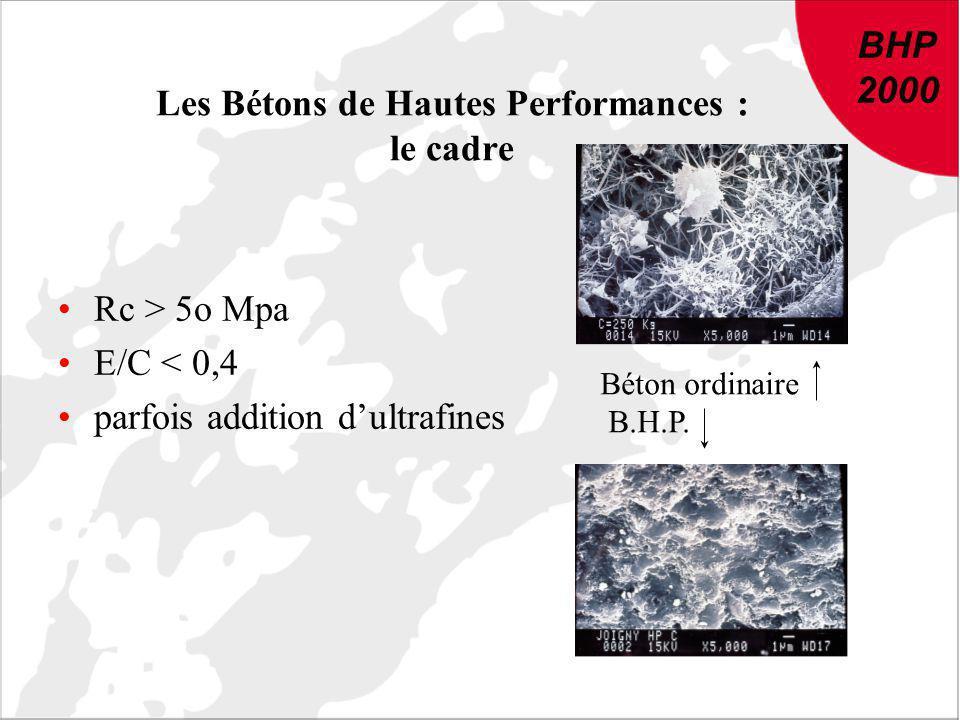BHP 2000 DU NOUVEAU DANS LE BETON : Conclusions et recommandations de BHP 2000 BHP 2000 Les Bétons de Hautes Performances : le cadre Rc > 5o Mpa E/C <