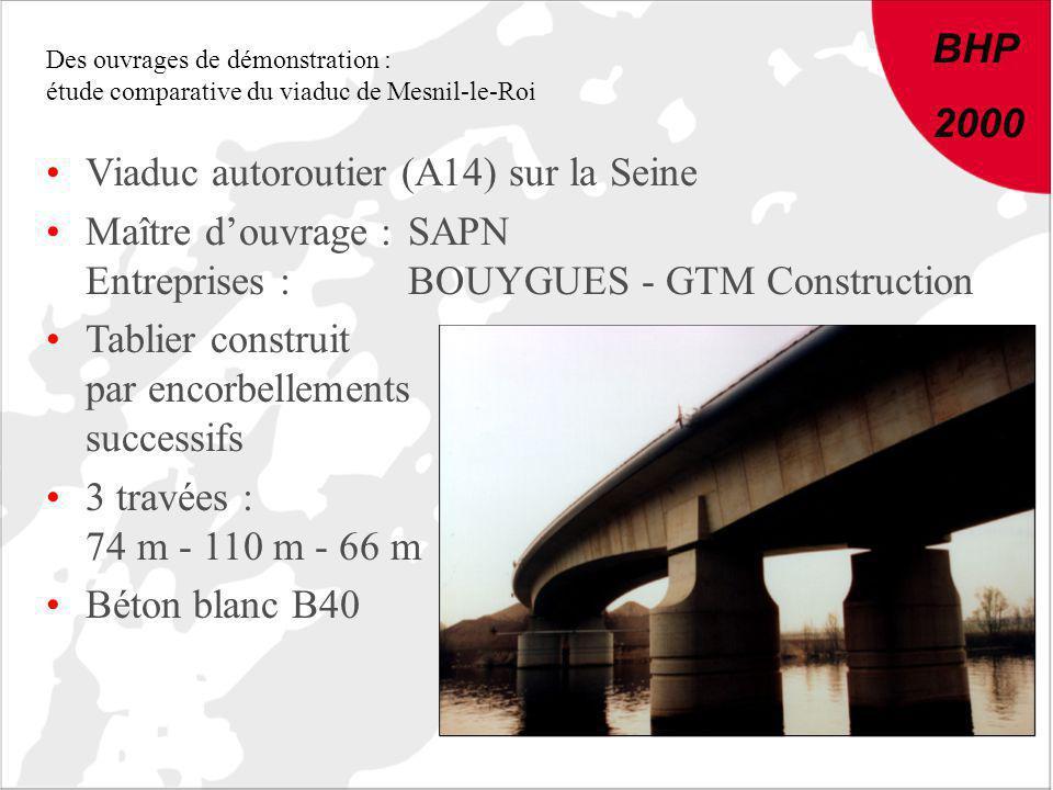 BHP 2000 Des ouvrages de démonstration : étude comparative du viaduc de Mesnil-le-Roi Viaduc autoroutier (A14) sur la Seine Maître douvrage :SAPN Entr