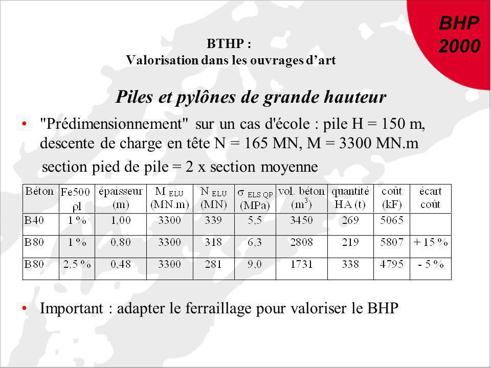 BHP 2000 DU NOUVEAU DANS LE BETON : Conclusions et recommandations de BHP 2000 BHP 2000 BTHP : Valorisation dans les ouvrages dart Piles et pylônes de