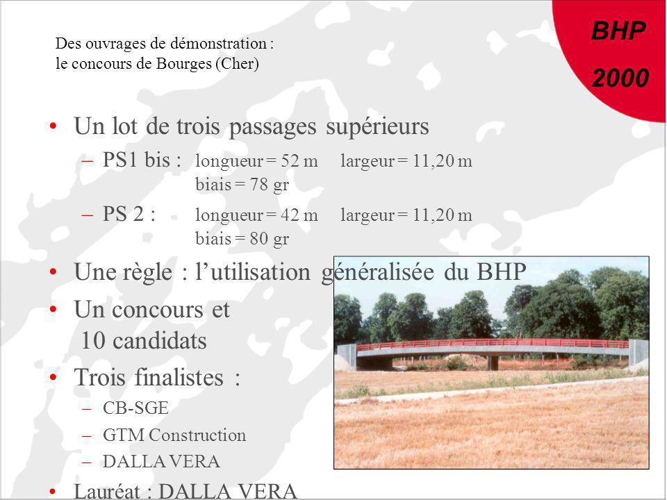 BHP 2000 Des ouvrages de démonstration : le concours de Bourges (Cher) Un lot de trois passages supérieurs –PS1 bis : longueur = 52 mlargeur = 11,20 m