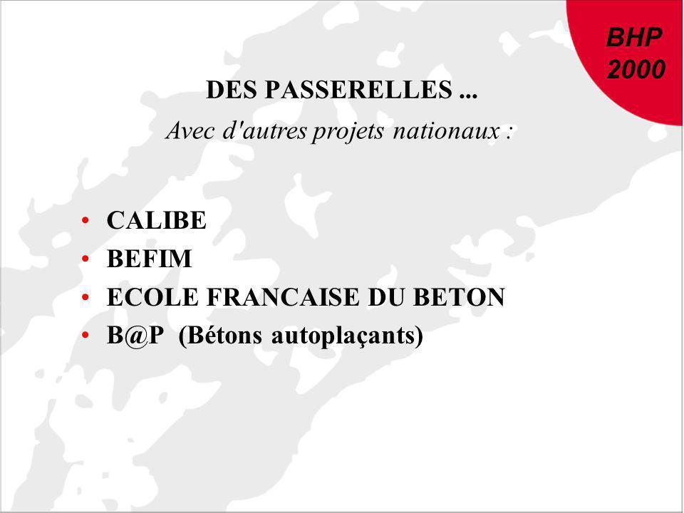 BHP 2000 DES PASSERELLES... CALIBE BEFIM ECOLE FRANCAISE DU BETON B@P (Bétons autoplaçants) Avec d'autres projets nationaux : BHP 2000