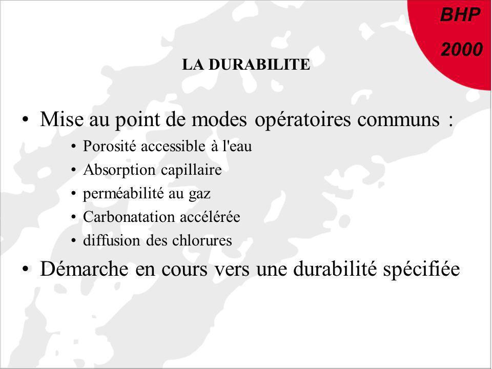 BHP 2000 LA DURABILITE Mise au point de modes opératoires communs : Porosité accessible à l'eau Absorption capillaire perméabilité au gaz Carbonatatio