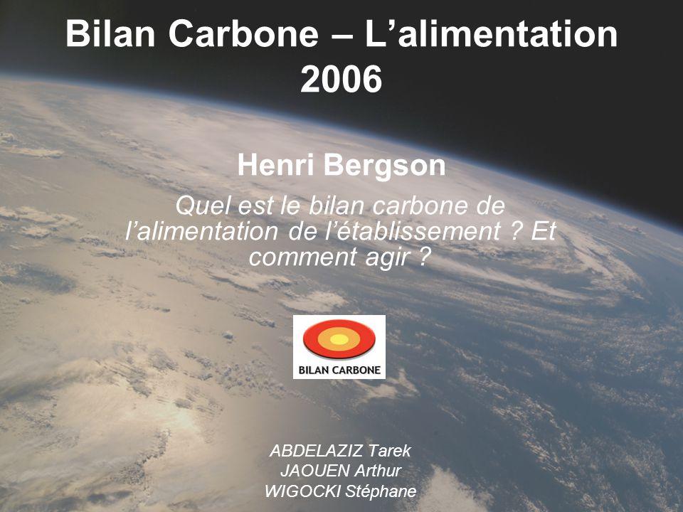 Bilan Carbone – Lalimentation 2006 Henri Bergson Quel est le bilan carbone de lalimentation de létablissement ? Et comment agir ? ABDELAZIZ Tarek JAOU