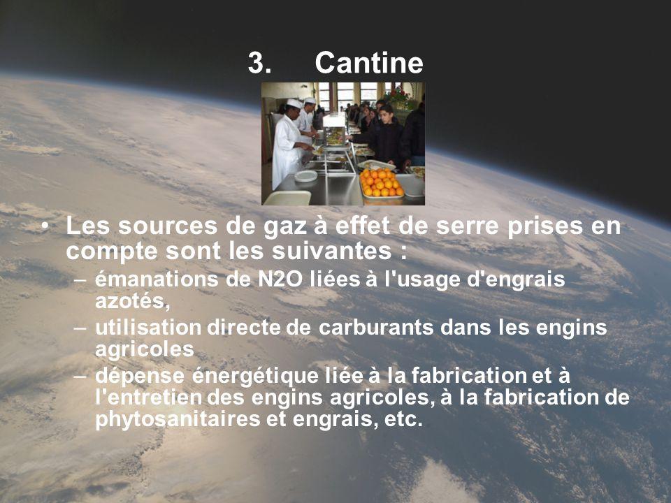 3.Cantine Les sources de gaz à effet de serre prises en compte sont les suivantes : –émanations de N2O liées à l'usage d'engrais azotés, –utilisation