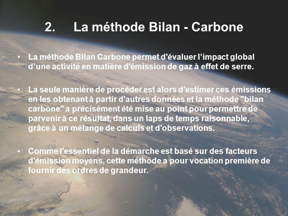 2.La méthode Bilan - Carbone La méthode Bilan Carbone permet d'évaluer limpact global dune activité en matière d'émission de gaz à effet de serre. La