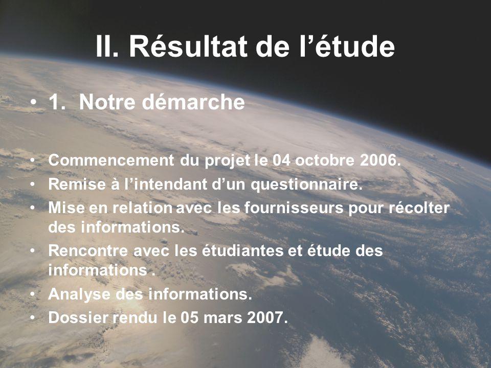 II. Résultat de létude 1.Notre démarche Commencement du projet le 04 octobre 2006. Remise à lintendant dun questionnaire. Mise en relation avec les fo