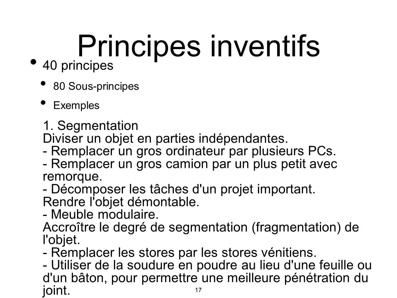 17 40 principes 80 Sous-principes Exemples 1. Segmentation Diviser un objet en parties indépendantes. - Remplacer un gros ordinateur par plusieurs PCs