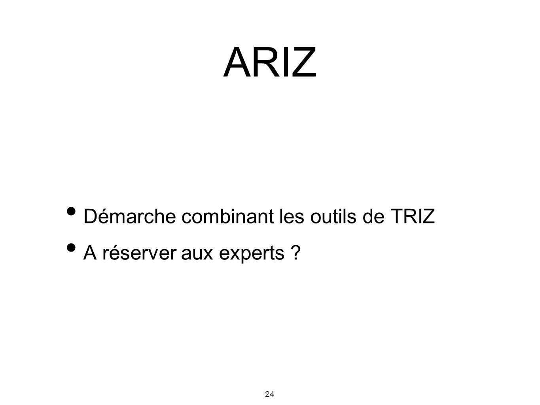 24 Démarche combinant les outils de TRIZ A réserver aux experts ? ARIZ
