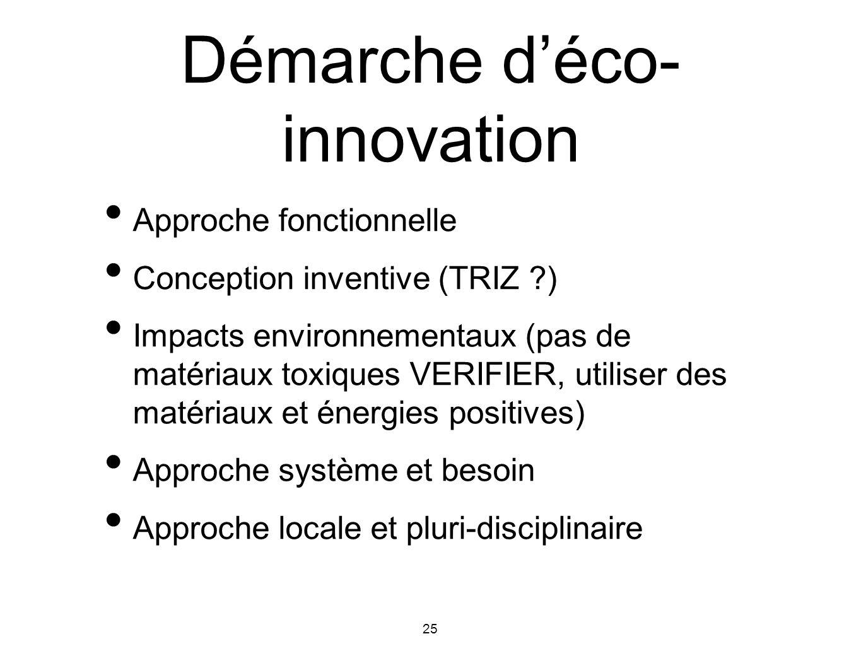 25 Démarche déco- innovation Approche fonctionnelle Conception inventive (TRIZ ?) Impacts environnementaux (pas de matériaux toxiques VERIFIER, utilis